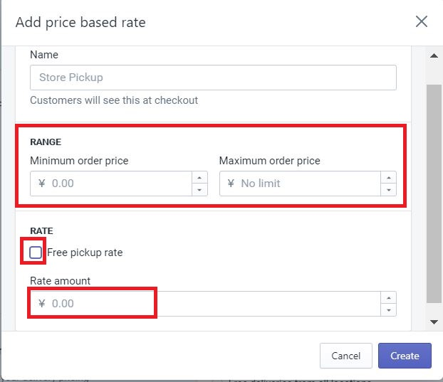 Add price based rate